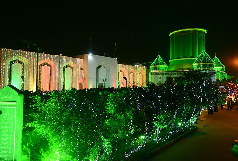 Minhaj ul Quran secretariat decorated with lights