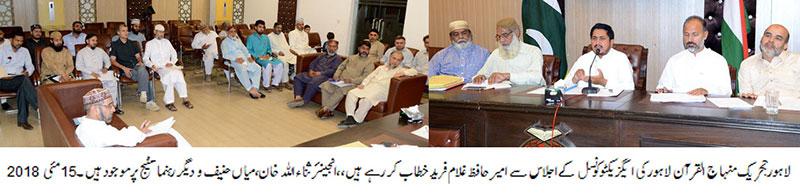 minhaj ul quran Lahore meeting organizational