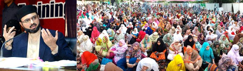 Dr Hassan Mohi-ud-Din Qadri addresses women residents Itikaf City