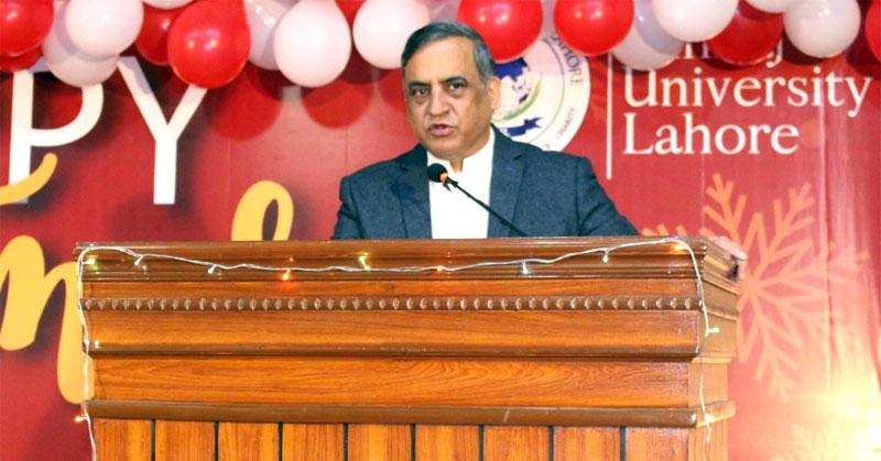 VC MUL Dr Sajid Mahmood Shahzad addresses Christmas ceremony at the Minhaj University Lahore
