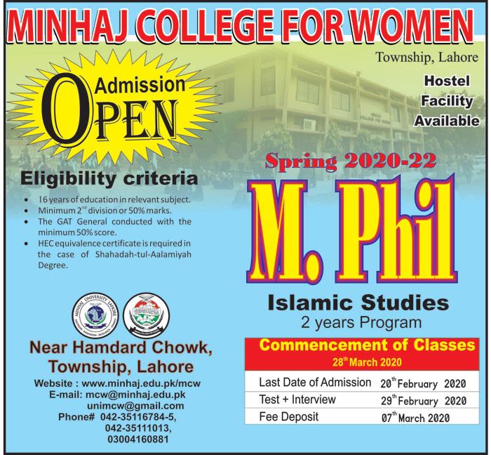 Minhaj College for women - Admission Open 2020