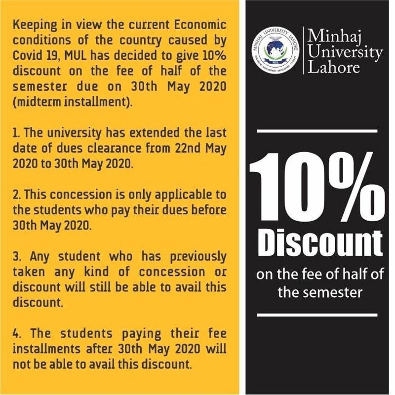 Minhaj University Lahore announces 10% cut in its fees