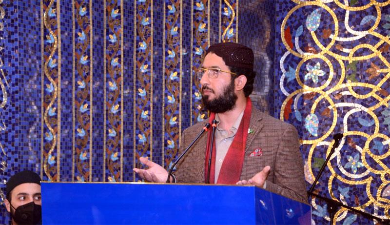 Sahibzada Sultan Ahmad Ali addressing ceremony of Shaykh-ul-Islam mosque