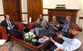 MQI Leaders visit Governor Punjab to condole Begum Bhutto's sad demise