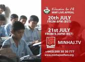 Live Charity Appeal 20 & 21 July on Prime TV, Venus TV, Minhaj TV