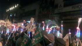 لاہور: منہاج القرآن یوتھ لیگ گلبرگ بی کے زیر اہتمام مشعل بردار جلوس