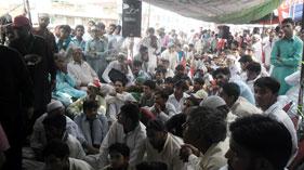جہلم: پاکستان عوامی تحریک کے زیر اہتمام کرپٹ نظامِ انتخابات کے خلاف احتجاجی دھرنا