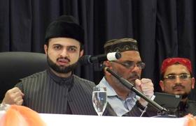 يلقى حسن القادري كلمته بالمؤتمر 'الديموقراطية والباكستان اليوم' بإيطاليا