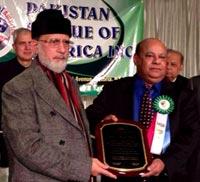 پاکستان لیگ آف امریکہ کی جانب سے ڈاکٹر طاہر القادری کو ''قائد اعظم ایوارڈ'' دیا گیا