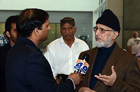 ڈاکٹر طاہرالقادری کی پاکستان روانگی سے قبل ٹورانٹو ایئرپورٹ پر میڈیا سے گفتگو