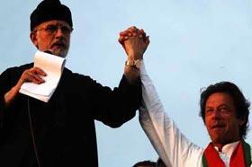 Imran Khan, Tahirul Qadri share container