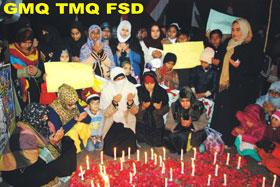 فیصل آباد: سانحہ پشاور اظہار یکجہتی ریلی، شہداء کی یاد میں شمعیں روشن