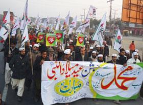 گوجر خان: تحریک منہاج القرآن کے زیراہتمام عظیم الشان میلاد مارچ و ضیافت میلاد