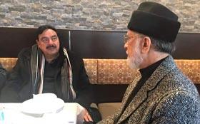 Sheikh Rashid calls on Dr Tahir-ul-Qadri