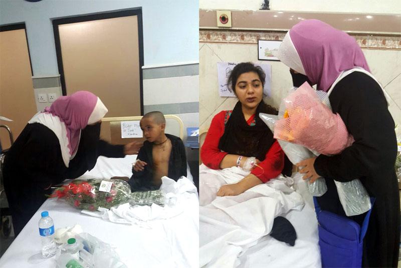عوامی تحریک شعبہ خواتین کی رہنماؤں کی زخمی بچوں اور خواتین کی عیادت