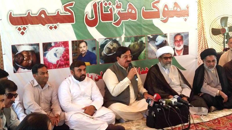 عوامی تحریک کے وفد کی مجلس وحدت المسلمین کے بھوک ہڑتالی کیمپ میں شرکت