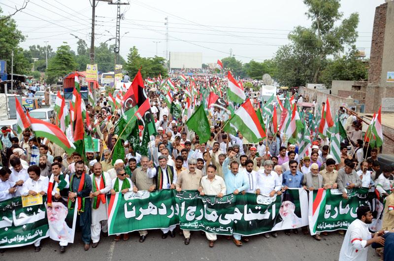 فیصل آباد: پاکستان عوامی تحریک کا قصاص مارچ اور دھرنا