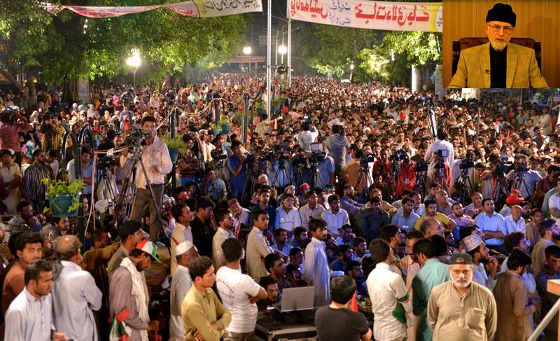 Dr Tahir-ul-Qadri addresses protest demonstrations in 105 cities