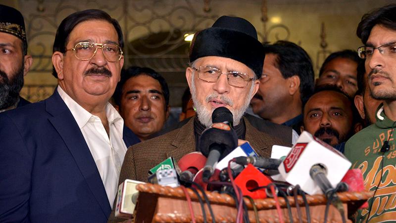 ڈاکٹر طاہرالقادری کی کراچی میں میڈیا سے گفتگو