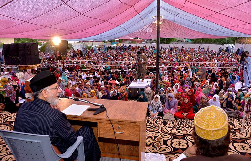 خواتین شہر اعتکاف میں شیخ الاسلام ڈاکٹر محمد طاہرالقادری کا خطاب