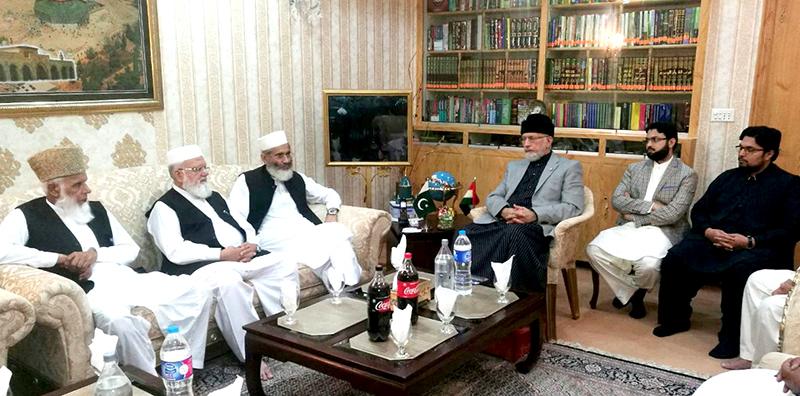 سراج الحق کی قیادت میں جماعت اسلامی کے وفد کی ڈاکٹر طاہرالقادری سے ملاقات