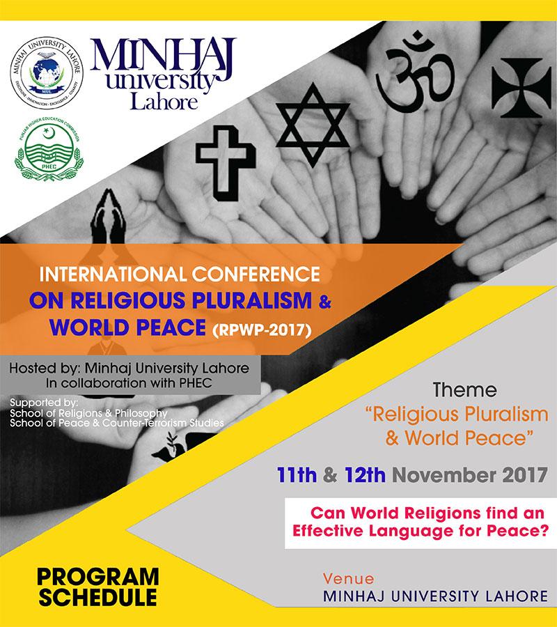 منہاج یونیورسٹی کے زیراہتمام 2 روزہ ''عالمی امن میں مذاہب کا کردار'' انٹرنیشنل کانفرنس 11 نومبر کو شروع ہو گی