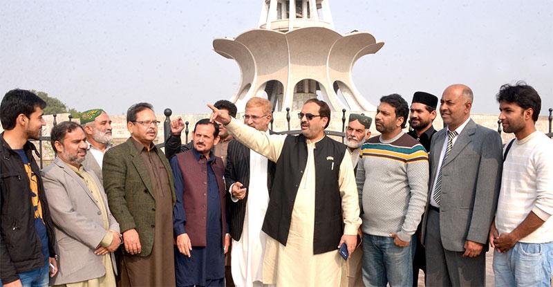 منہاج القرآن کے راہنماؤں نے مینار پاکستان گراؤنڈ میں عالمی میلاد کانفرنس کے انتظامات کا جائزہ لیا
