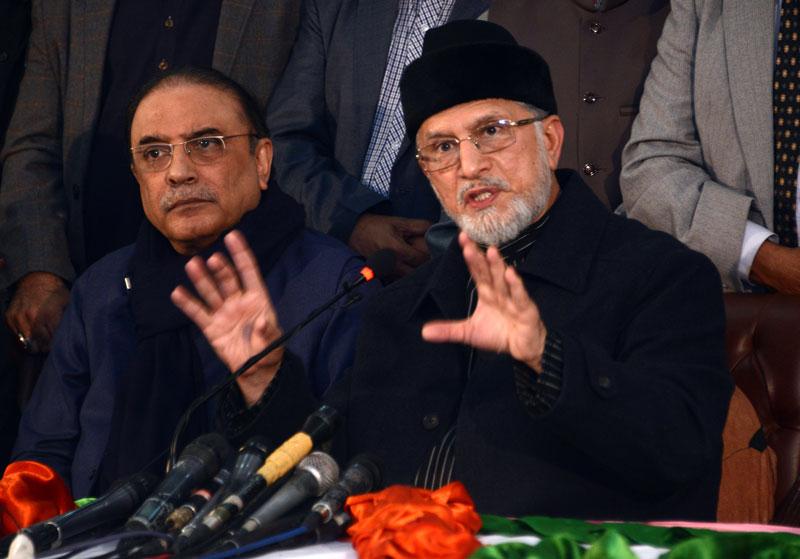 Asif Zardari and Dr Tahir-ul-Qadri demand Shahbaz Sharif's resignation