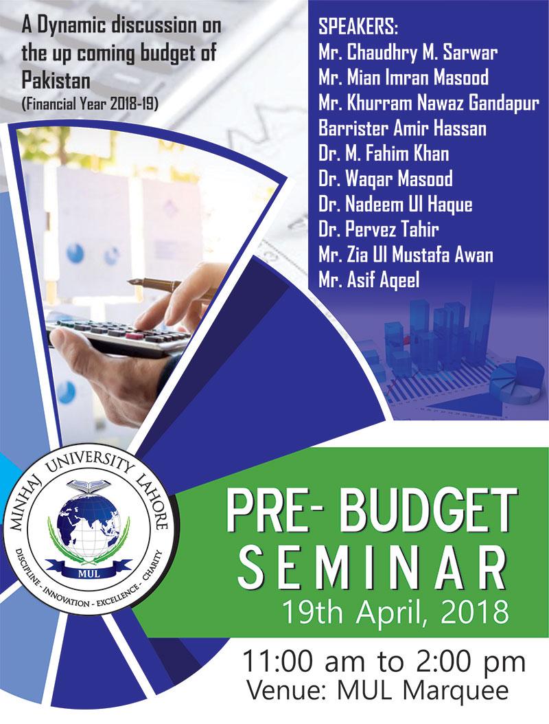 Minhaj University Lahore to hold 'Pre-Budget Seminar' - 19th April 2018