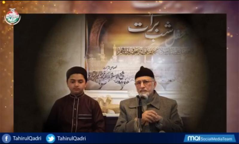 Shaykh-ul-Islam Dr Muhammad Tahir-ul-Qadri addresses Mahfil e Shab e Barat in Canada