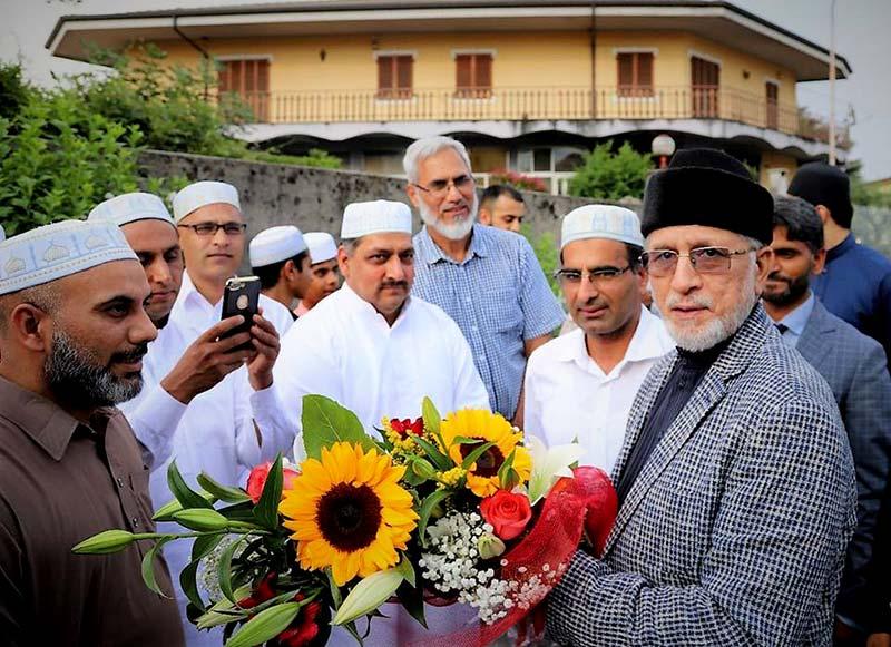 دورہ یورپ: شیخ الاسلام ڈاکٹر محمد طاہرالقادری کا (بیرگامو) اٹلی پہنچنے پر شاندار استقبال