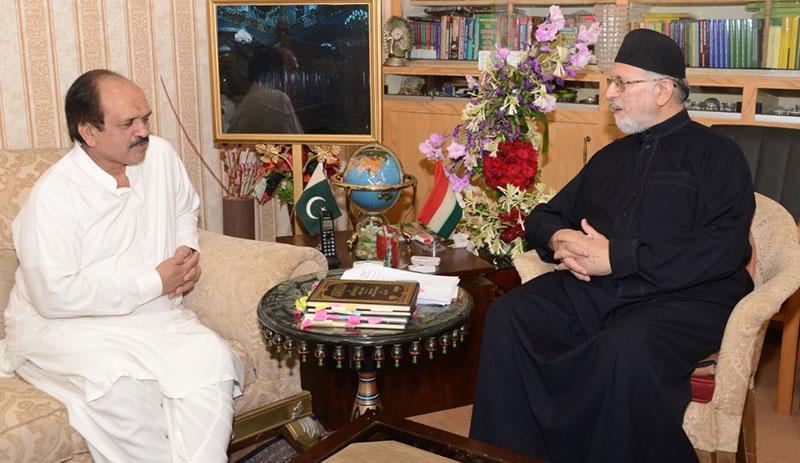 ڈاکٹر طاہرالقادری سے وزیر اعلیٰ پنجاب کے مشیر اکرم چودھری کی ملاقات