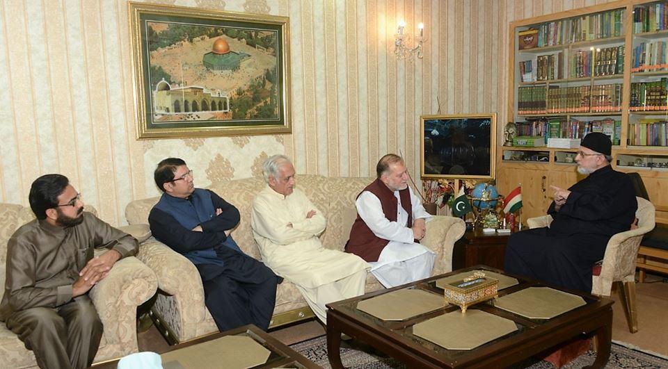 معروف دانشور اوریا مقبول جان اور سابق چیئرمین پی سی بی خالد محمود کی ڈاکٹر محمد طاہرالقادری سے ملاقات