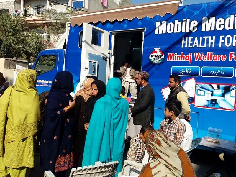 منہاج ویلفیئر فاؤنڈیشن لاہور کا پی پی 149 میں موبائل میڈیکل یونٹ (کلینک اینڈ لیب) میڈیکل کیمپ