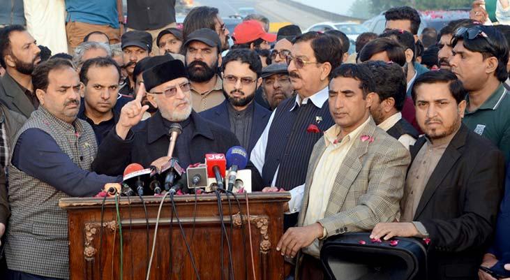 Dr Tahir-ul-Qadri reaches Lahore, talks to media