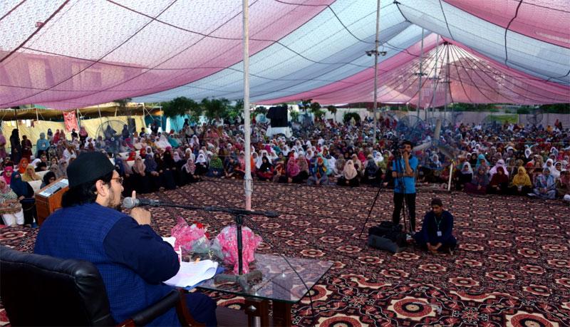 Dr Hussain Mohi-ud-Din Qadri addresses women residents Itikaf City