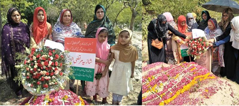 منہاج القرآن ویمن لیگ کی خواتین شہدا کی قبروں پر فاتحہ خوانی، پھولوں کی چادریں چڑھائیں