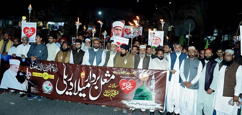 منہاج القرآن ملتان کے زیر اہتمام بارہویں سالانہ مشعل بردار میلاد ریلی