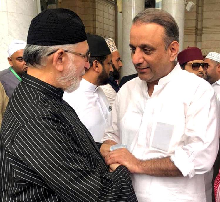 ڈاکٹر محمد طاہرالقادری سے عبدالعلیم خان کی مدینہ شریف میں ملاقات