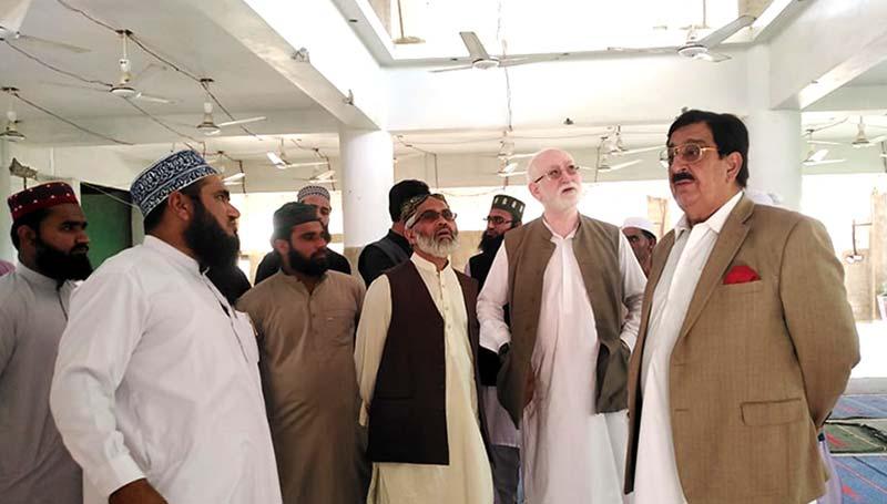 ناظم اعلیٰ خرم نواز گنڈاپور کا جامع مسجد غوثیہ و جامعہ اسلامیہ منہاج القرآن کراچی کا دورہ
