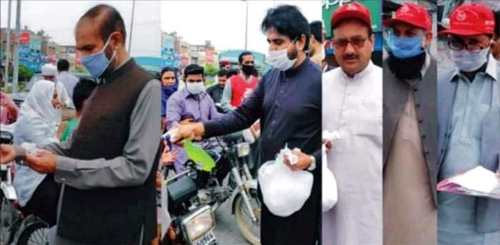 کورونا: منہاج ویلفیئر فاؤنڈیشن کی طرف سے فیصل آباد بھر میں ماسک اور سینی ٹائزر کی تقسیم