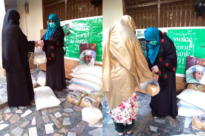 پشاور: منہاج القران ویمن لیگ کے ذیلی فورم WOICE کی جانب سے راشن پیکجز کی تقسیم