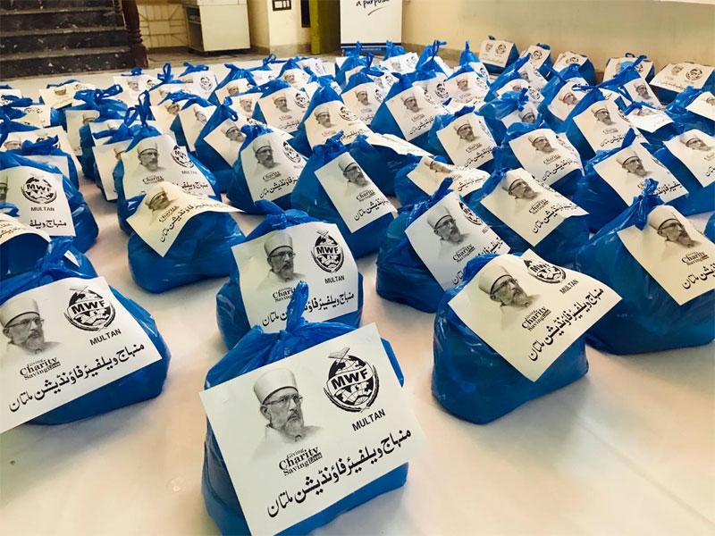 ملتان: منہاج ویلفیئر فاؤنڈیشن کی جانب سے راشن پیکجز کی تقسیم