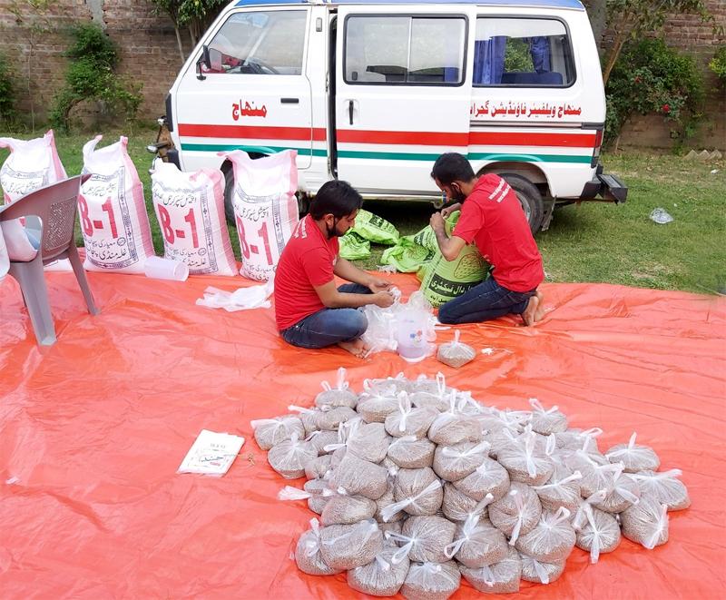 گجرات: منہاج ویلفیئر فاؤنڈیشن نے 1500 خاندانوں تک راشن پہنچا دیا