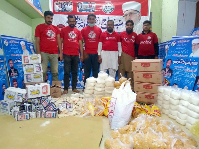 قصور: منہاج ویلفیئر فاؤنڈیشن کی جانب سے سیکڑوں مستحق گھرانوں میں راشن پیکجز کی تقسیم