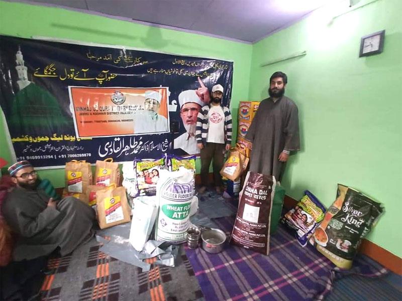 سری نگر (آزاد جموں اینڈ کشمیر): منہاج ویلفیئر فاؤنڈیشن کی جانب سے مستحق گھرانوں میں راشن پیکجز کی تقسیم