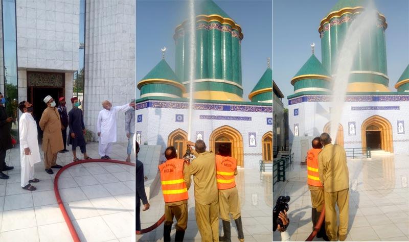 منہاج القرآن کے تعلیمی اداروں اور ہاسٹلز کی جراثیم کش ادویات ملے پانی سے صفائی