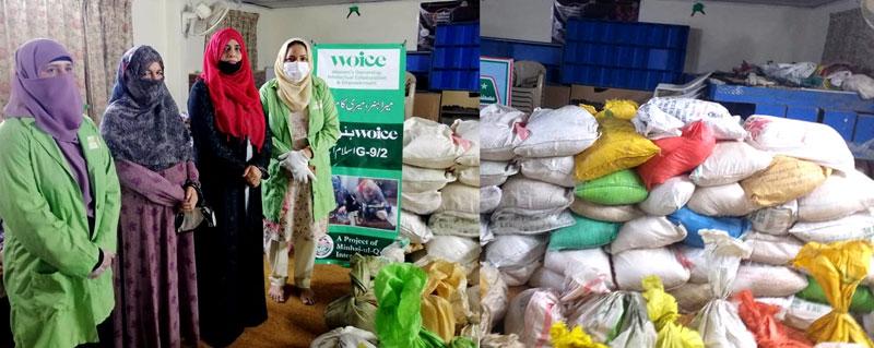 اسلام آباد: منہاج القرآن ویمن لیگ کے ذیلی ادارہ WOICE کے زیراہتمام مستحق گھرانوں میں راشن کی تقسیم