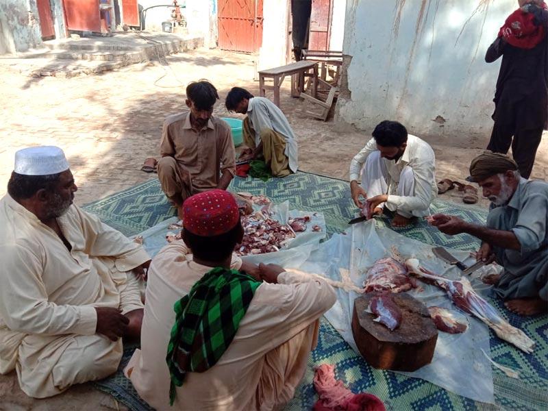 راجن پور: منہاج ویلفیئر فاؤنڈیشن کے زیراہتمام اجتماعی قربانی، مستحقین میں گوشت کی تقسیم