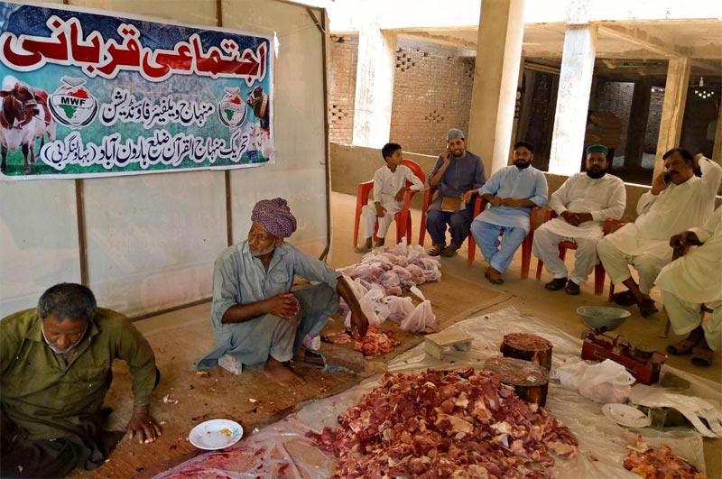 ہارون آباد (بہاولنگر بی): منہاج ویلفیئر فاؤنڈیشن کے زیراہتمام اجتماعی قربانی، مستحقین میں گوشت کی تقسیم
